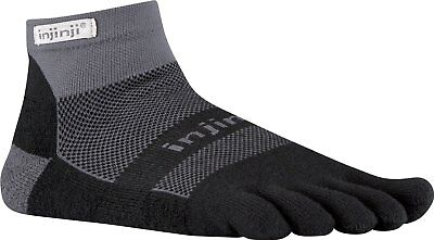 Injinji Perf 2.0 Run Midweight Mini-Crew CoolMax XtraLife Toe Socks Black/Gray M