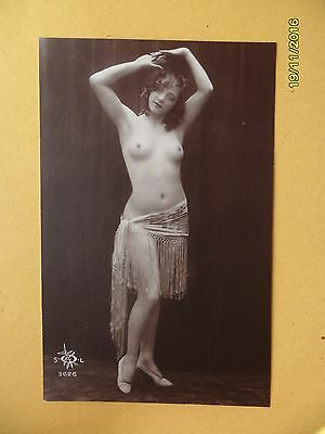 Original 1910's - 1920's Nude Risque Postcard Beauty Dancing Lady #152