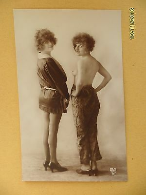 Original French 1910's-1920's Nude Risque Lady Twin Beauties Lesbians #156