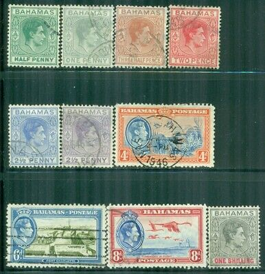 BAHAMAS 100,101A-02,103B-04A,106-08,110 SG149-60 Used 1938-46 KGVI short Cat$15