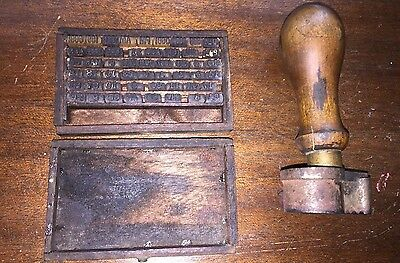 Antique 1907 Post Office Hand Stamp Scottland, IL w/side Cancel/Wood Handle~Rare