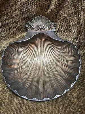 "Vintage SG England Silver Plate Scallop Shell Footed Dish Bowl 6.75x6"" Metalware"