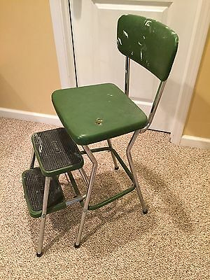 Vintage Cosco Green Fold-Out Kitchen Step Stool Chair Retro Mid Century