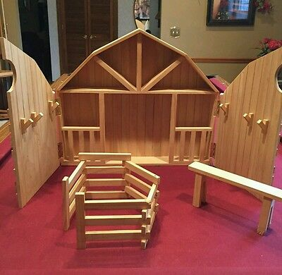 Unfinished Wood Horse Barn Wooden Stable Play Set