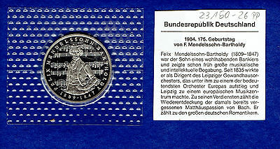 5 DM BRD Medelssohn- Bartholdy 1984 J Original PP Bad Homburg Gedenkmünze - TOP