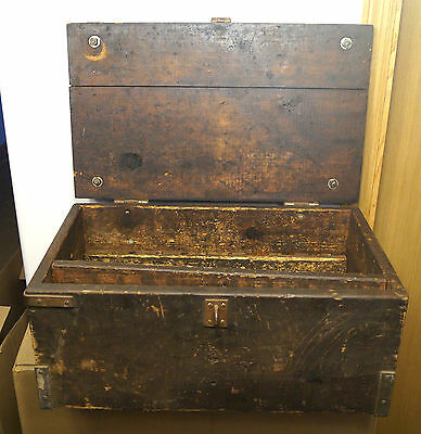 Antique 1880s -1920s Wood & Metal Carpenters Tool Box Chest Solid Original