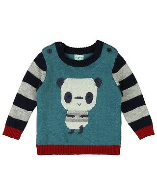 Lilly and Sid Panda Knit Baby Boy Jumper  3-6, 6-12 & 18-24 Months