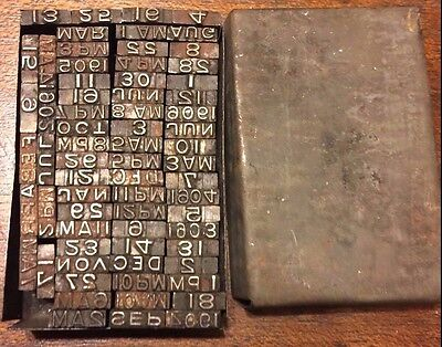 Antique 1906 Post Office Type Set for Hand Stamps Date Year Month Metal Box Die