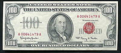 Fr. 1550 1966 $100 One Hundred Dollars Red Seal Usn United States Note Xf/au