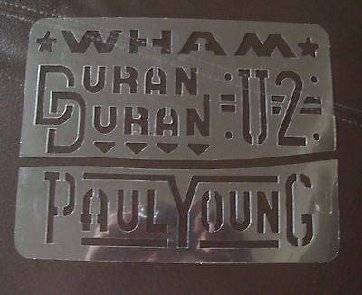 1980's Pop Stencils - Wham, Paul Young, Duran Duran, U2 - Art Stencil