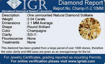 1 Diamante Natural Si3 Champagne 2.10 Mm/0.040 Quilates Certificado Igr Agest02