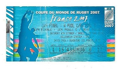 2007 - France v New Zealand, World Cup Quarter-Final Match Ticket.