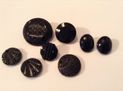 8 Black Glass Old/vintage Buttons. Great Patterns