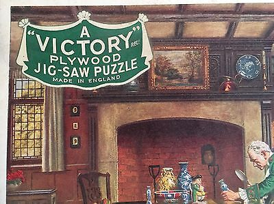 Antique Victory Plywood Jig-Saw Puzzle- The Collector- Complete, In Original Box