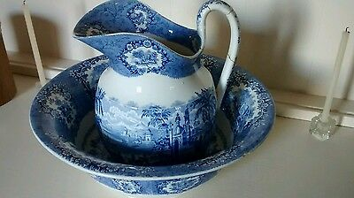 Blue and white pottery- wash jug and bowl - PLEASE read the full description.