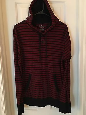 Men's American Eagle Hoodie - Red And Black Striped. Size L