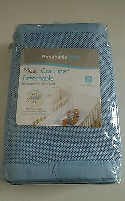 Breathable Blue Baby Mesh Liner Airflow Cot Bumper 2 Sided Breathablebaby