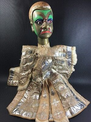 Vintage Opera Puppet Head And Original Clothing Only Metallic Silver 3H