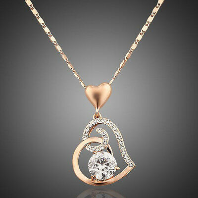 Fashion Love Heart Chain Pendant Rose Gold Plated Crystal Necklace with Gift Box