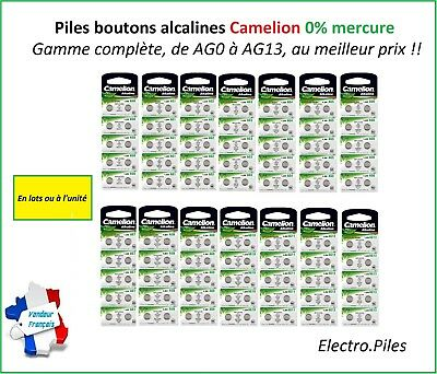 Piles/Battery Bouton Camelion Alcaline AG0/AG13 1.5V Free Shipping !!
