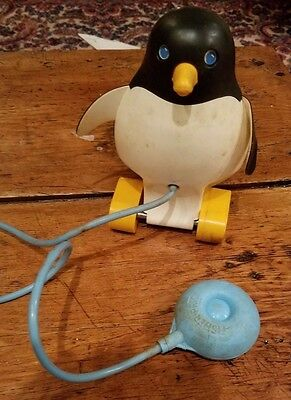 Vintage Fisher Price Perky Penguin Pull Toy - #786