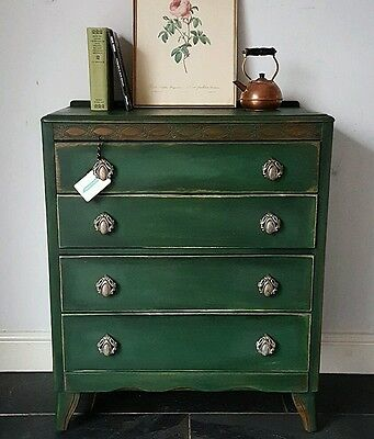 ANNIE SLOAN vintage LEBUS 1940's UPCYCLED utility PAINTED chest of drawers