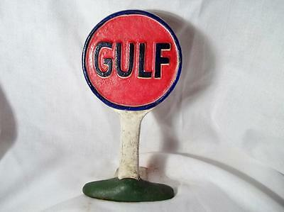 Cast Iron Heavy Gulf Oil Gas Station Sign Advertising Doorstop Counter Display