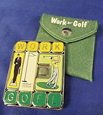 """PUZZLE BY BINARY ARTS CORP. """"WORK or GOLF"""" - METAL & ENAMEL SLIDE PUZZLE -U.S.A."""