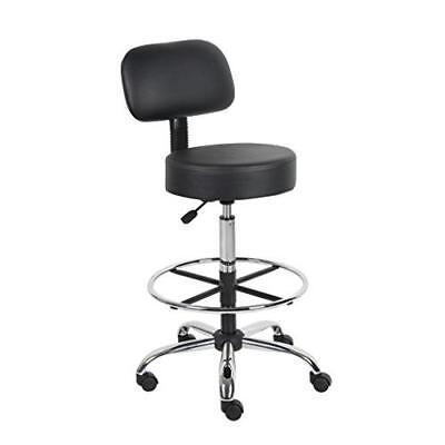 Boss Office Products B16245-BK Be Well Medical Spa Drafting Stool with Back, New
