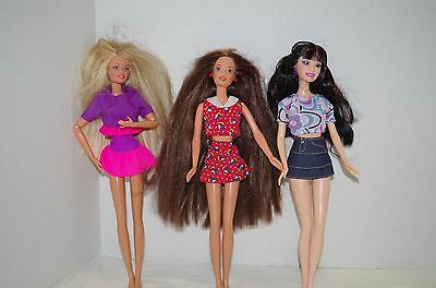 Lot 3 Barbie Dolls Free shipping Mattel  no shoes 1 with long hair