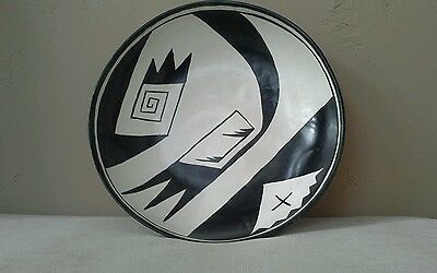 Native American pottery Large Bowl/ tray, Black & White