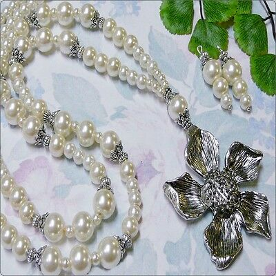 Cream Pearls and Tibetan silver flower long necklace earrings set, any fittings