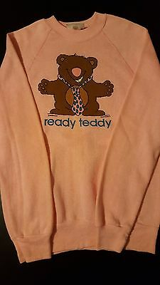 Vintage 80s 1985 Ready Teddy Bear Tie Hug Sweatshirt Funny Animal Benton Pink