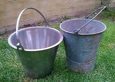 Vintage Antique Galvanised Shower and Stainless Steel Milking Bucket