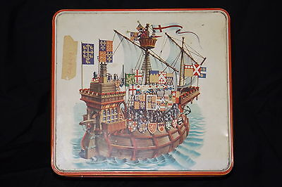 Vtg. Galleon  Tin Biscuit Canister McVitie & Price - England