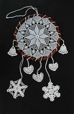 Handmade crocheted white dreamcatcher with snowflakes bohemian christmas decor