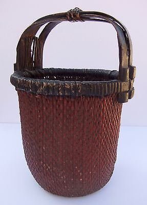 Large Antique Chinese Woven Willow Rice Basket  |  Red Pigment  |  19th Cent.