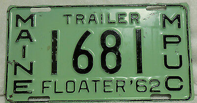 1962 Maine PUC Floater Trailer License Plate Nice 62 ME Odd Type