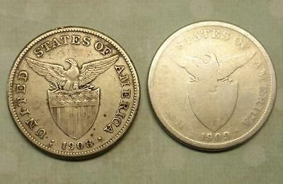 1908 & 1909 S USA MADE *SILVER* DOLLAR / PESO  San Francisco MINT Mark & Eagle