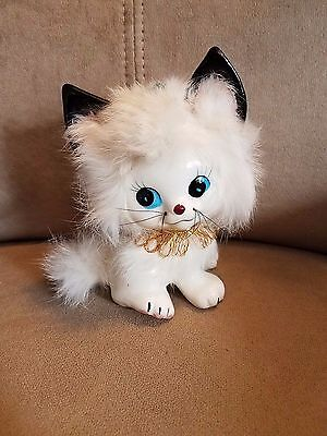 Vintage Ceramic Porcelain Kitty Cat Figurine White With Faux Fur Cute!!