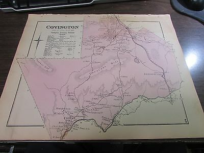 Original 1873 Covington Twp Pa And Business Notices  Pa Map - Excellent