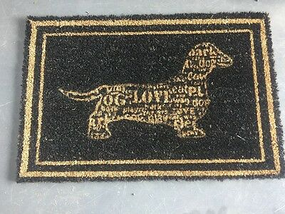 New Coir Door Mat With Rubber Backing Black/natural With A Sausage Dog 60 x 40cm