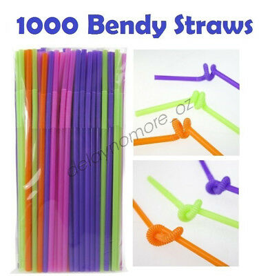 1000 Plastic Long Drinking Straws Party Cocktail Juice Bendy Curly Straw Events