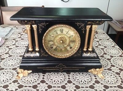 Antique session mantle clock  working