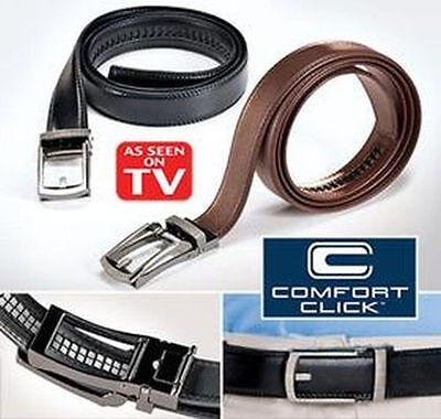 COMFORT CLICK Leather Belt for Men Black or Brown As Seen on TV US Seller