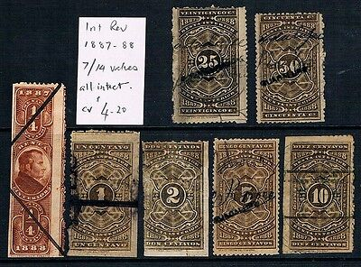 MEXICO • 1887-8 • Fiscal Stamps (7) • Internal Revenue • ¼ to 50 Centavos