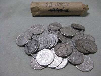 Mixed Roll of Fifty Mercury and Roosevelt Dimes