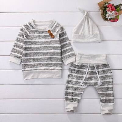 Newborn Baby Girls Boy Striped Tops T-shirt+Pants+Hat 3 pcs Outfits Set Costume