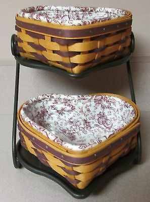 Longaberger Sweetheart Little Love Baskets  purple weave & wrought iron stand