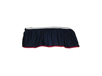 BabyDoll Bedding Baby Doll Solid Reversible Crib Skirt/ Dust Ruffle, Navy/Red